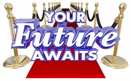 new opportunity: Your Future Awaits 3d words on a red carpet to illustrate an exciting new opportunity in job, career or life for success tomorrow