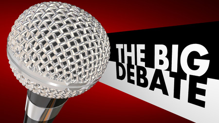 debate win: The Big Debate words next to a microphone to illustrate a televised or radio discussion, arguement or dispute between two or more parties, people or political candidates Stock Photo