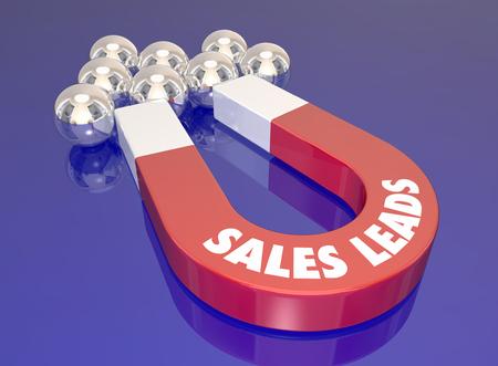 conclusion: Conductores de ventas palabras en un imán rojo 3d para ilustrar la actividad de generación de oportunidades para atraer nuevos clientes y clientes potenciales Foto de archivo