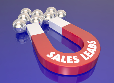 finding: Sales Leads words on a red 3d magnet to illustrate lead generation activity to bring in new customers and prospects Stock Photo
