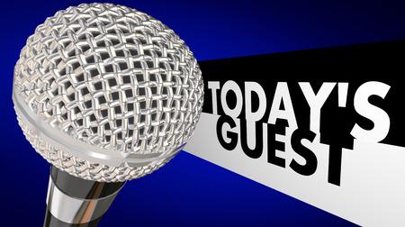 오늘의 게스트 단어는 다른 사람 또는 사람들과 인터뷰 또는 토론을 통해 TV 또는 라디오 토크쇼 또는 프로그램을 설명하기 위해 3d 마이크 옆에 있습니다. 스톡 콘텐츠 - 52512020