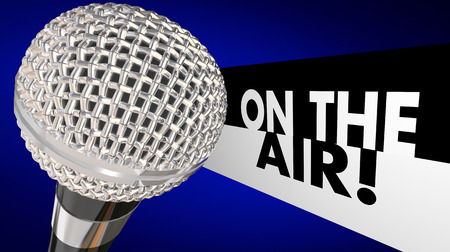 podcasting: On the Air words beside a 3d microphone to illustrate a live program or broadcast talk show on TV or radio or a podcast online or streaming
