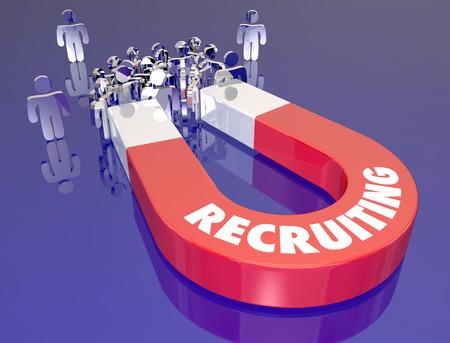 Le recrutement mot sur l'aimant de métal rouge tirant les candidats des employés pour une entrevue ou de carrière opportunité de travail Banque d'images