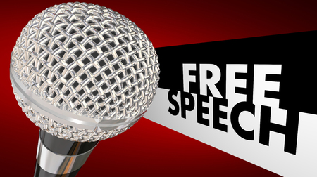 free speech: Free Speech words beside a 3d microphone to symbolize the first amendment and freedom of expression
