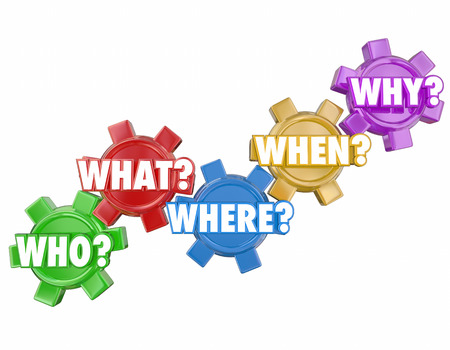 clues: Who What Where Why When words on 3d gears to illustrate basic questions and the search for answers or clues to a problem or mystery