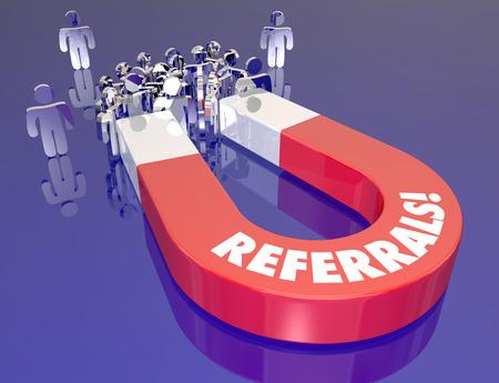 Empfehlungen Wort auf einem 3D-Metall-Magnet rot neuen Kunden und Interessenten als Symbol für die Anziehung durch Client-Mundpropaganda und Kommunikation Standard-Bild