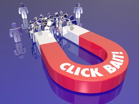 klik: Klik Bait woorden op een rode metalen magneet om te illustreren het aantrekken of lokken lezers of publiek op een website om het verkeer te stimuleren