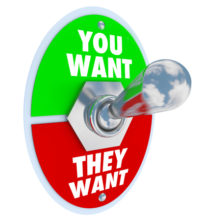 You Want vs They Want words on a toggle switch or lever to illustrate competing priorities, goals, tasks, jobs or work