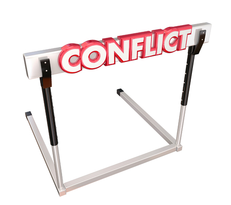 conflicted: Conflict word in red 3d letters on a hurdle to illustrate overcoming a dispute, argument, problem or fighting to reach resolution Stock Photo
