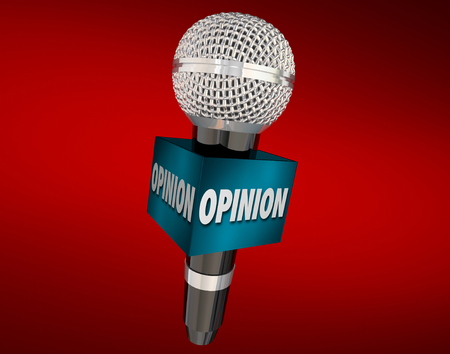 opinionated: Opinion word on a cube around a microphone on red background to illustrate an interview to collect feedback or viewpoints Stock Photo