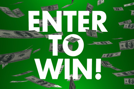 sweepstake: Enter to Win words and falling cash or money to illustrate a big cash prize, jackpot or lottery winnings in a contest or game