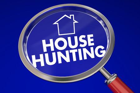 conclusion: Casa palabras de caza y el icono de inicio bajo una lupa sobre fondo azul para ilustrar mover o cambiar a la nueva propiedad