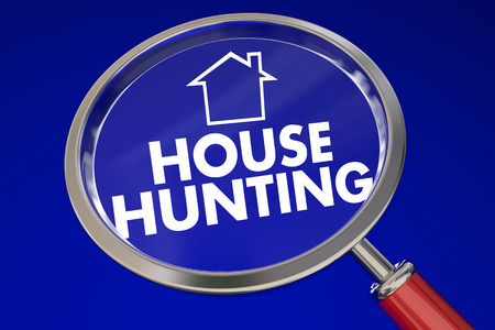 finding: House Hunting words and home icon under a magnifying glass on blue background to illustrate moving or relocating to new property