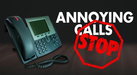 molesto: Detener las llamadas molestas palabras en un teléfono para ilustrar querer terminar ventas o telemarketing teléfono frustrante solicitación