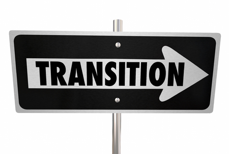 transitional: Transition word on a road sign to illustrate change, improvement or a new way or direction