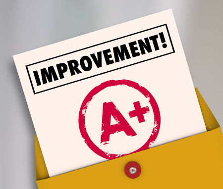 reevaluation: Improvement word on a report card with A plus grade to illustrate good results from studying or tutoring for school education Stock Photo