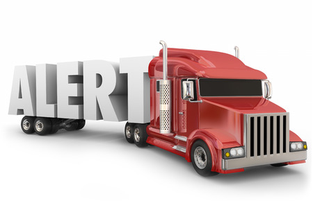 safe driving: Alert word in 3d letters hauled by a truck to illustrate safe driving and transportation on the road Stock Photo