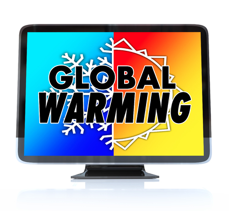 warmer: Global Warming words on a TV or television screen news report program as an urgent alert or emergency message