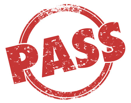 Pass word in red grunge stamp illustrating a good score or grade for your performance Stock Photo