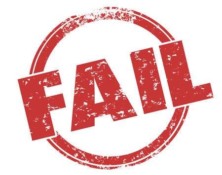 doomed: Fail word round grunge style red ink stamp to illustrate bad response, grade or score for poor performance