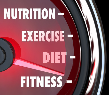regimen: Nutrition, Exercise, Diet and Fitness words on a speedometer or measurement gauge to chart your score or rating for health care wellness
