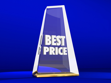 lower value: Best Price Lowest Cost Value Deal Sale Award Trophy Stock Photo