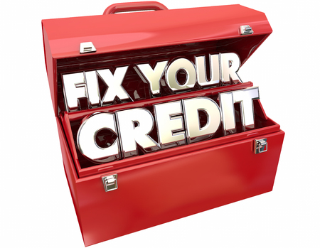 toolbox: Fix Your Credit Score Rating Repair Improvement Red Toolbox 3d Words Stock Photo