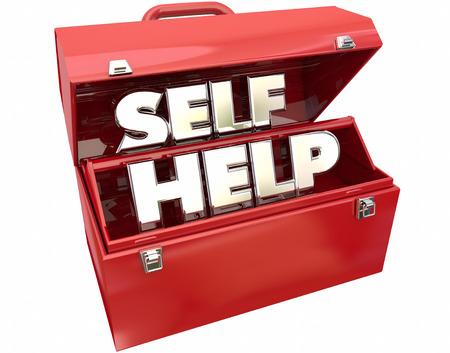 self help: Self Help Improvement Toolbox Resources Advice 3d Words Stock Photo