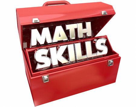 educational tools: Math Skills Learn Education Study Tutoring Red Metal Toolbox 3d Words Stock Photo