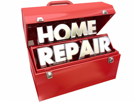 patching: Home Repair Fix Improvement Red Metal Toolbox 3d Words