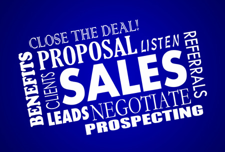sales process: Sales Process Negotiation Leads Prospects Animated Word Collage Stock Photo