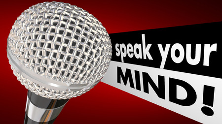 Speak Your Mind Microphone Words Animation Discuss Opinions Stock Photo