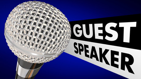 oration: Guest Speaker Microphone Words Animation Introduction