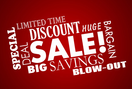 commercialism: Sale Discount Deal Event Word Collage Animation Stock Photo
