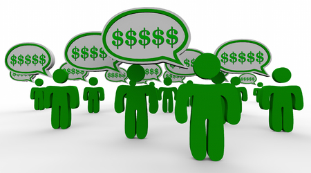 referrals: Dollar Signs Symbols Speech Bubbles New Customers Referrals Word of Mouth