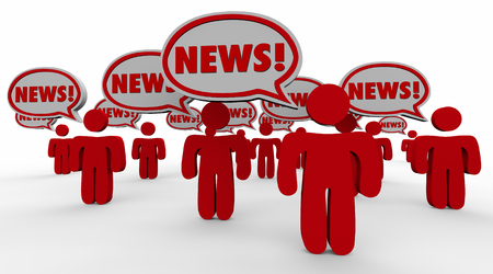 shared sharing: Breaking News People Speech Bubbles Sharing Updates Words