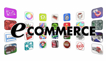 e commerce: e-Commerce Shopping Buying Apps Words Programs Mobile Software Stock Photo
