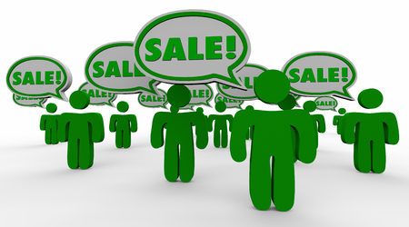 haggling: Sale Deal New Customers Speech Bubbles Green 3d People