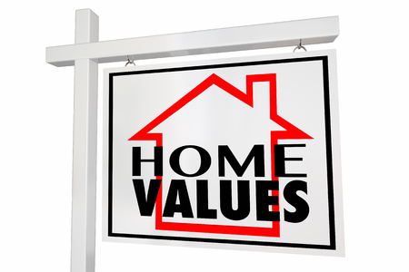 Home Values House for Sale Real Estate Sign Trends Asset Valuation Comps Stock Photo - 53467694