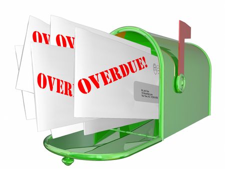 obligated: Overdue Bill Letter Invoice Message Mailbox 3D Stock Photo