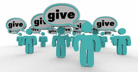 spread the word: Give Generous People Sharing Donate Contribute Speech Bubbles