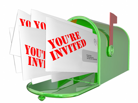 encouraged: Youre Invited Envelopes Messages Mailbox Words Stock Photo