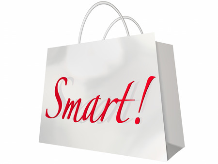 better price: Smart Shopping Bag Low Price Best Deals Store Stock Photo