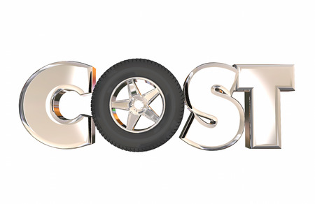 cost: Cost of Ownership 3d Word Letters Wheel Tire Auto Vehicle Car Price