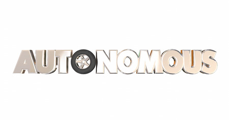 autonomia: La rueda del neumático del automóvil Auto Autónoma de vehículo que conduce el coche 3d Palabra Foto de archivo