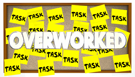 overwhelm: Many Tasks Overworked Job Worker Employee Stress Sticky Notes Stock Photo