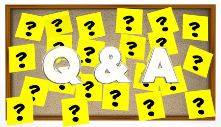 questions answers: Q and A Questions Answers Sticky Notes Ask Bulletin Board Stock Photo