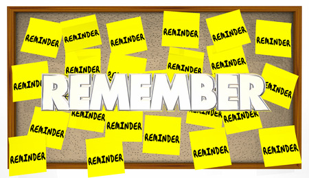 recordar: Recordatorio de notas adhesivas Recuerde reunión importante para hacer la lista Foto de archivo
