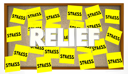 work stress: Stress Relief Sticky Notes Bulletin Board Help Calm Stock Photo