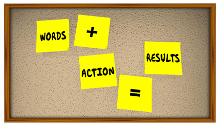follow through: Words Plus Action Equals Results Sticky Notes Bulletin Board